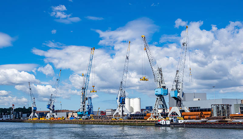 Cranes at port of Rotterdam, Netherlands. Logistics business